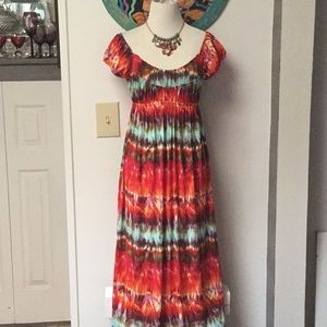 AGB Tie Dye Look Stretchy Maxi Dress Size 8
